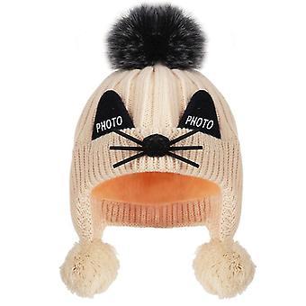 Niños más velvet knit sombrero invierno para y, orejas de algodón caliente, Pompón