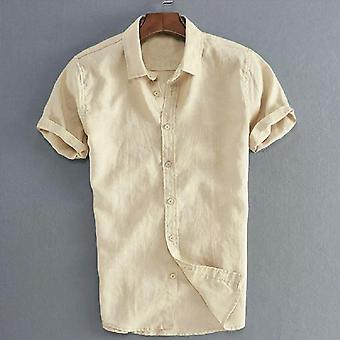 الرجال قصيرة كم الكتان القطن سليم صالح الذكور بلوزة الصيف قميص عارضة