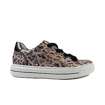 Ara Courtyard 37409-08 Multi Leopard Print Nubuck Leather Womens Lace Up Trainers