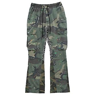 Calças masculinas, patchwork camuflagem leopardo, bolso de cordão de sinalização, carga