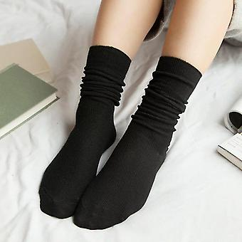 High School Socks Loose Solid Colors Double Needles Knitting Cotton Long