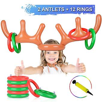 Anisqui 2 set inflatable reindeer antler game, (2 inflatable antler, 12 rings reindeer ring toss) in