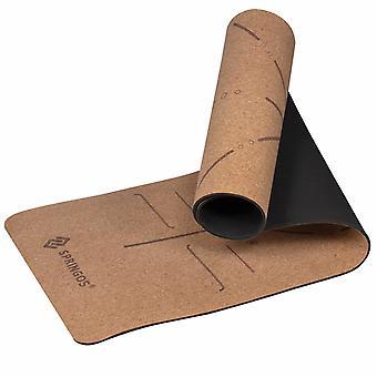 Alfombrilla de yoga cork - 185x61x0.67 cm - Tonos marrones y negros - estera deportiva