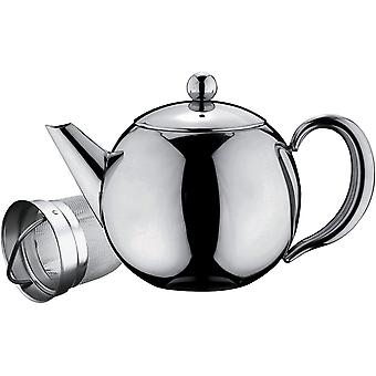 Caf Ole Rondeo Stainless Steel Tea Pot Easy Pour Teapot with Infuser Basket 35oz 1000ml
