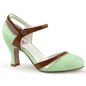 Pin Frauen's Schuhe Bis Mint-Braun Kunstleder