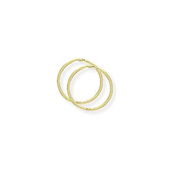 Jewelco Londen dames 9ct geel goud 1mm gauge dun scharnierend Sleeper hoepel oorbellen-14mm