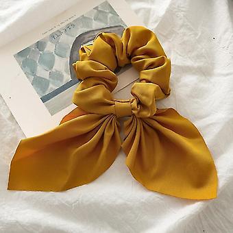 Šifon bowknot, hedvábné vlasy scrunchies, dámské perleťové culík držák, guma