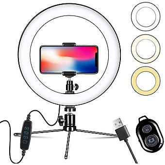 10 Led Selfie Light Dimmable Ring Light with Tripod Stand & Phone Holder