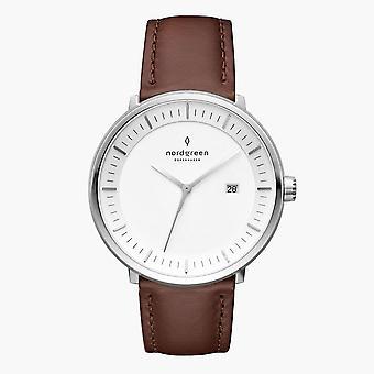 Nordgreen Unisex Philosopher Leather Silver 36mm Watch PH36SILEBRXX