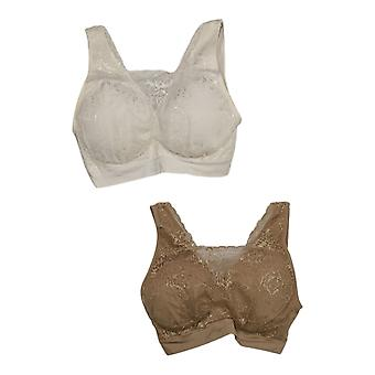 Breezies 1X Set of 2 Lace Seamless Cami Bra Ivory A378013