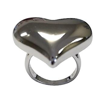 Solid Large Puff Heart Silvertone Ring