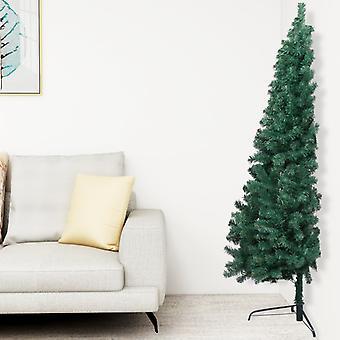 vidaXL الاصطناعية نصف شجرة عيد الميلاد مع الوقوف الأخضر 210 سم PVC