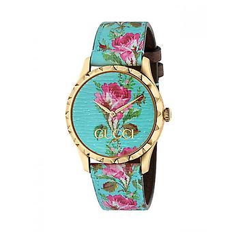 Gucci Ya1264085 G-timeless Aqua Floral Print Dial Ladies Leather Watch
