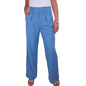 Women's Wide Leg Smart Trousers Ladies Loose Fit Pleated Formal Office Pants 10-22