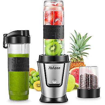 Blender Smoothie Makers 500W, 2 in 1 Multifunctional Personal Blender Mixer with 2x600ml Portable