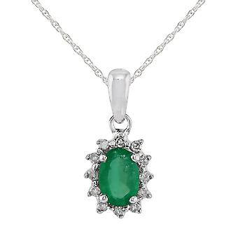 Classic Oval Emerald & Diamond Cluster Pendant Necklace in 9ct White Gold 7059