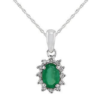 9ct oro blanco 0,42 ct Natural Esmeralda y diamante clásico racimo colgante de cadena