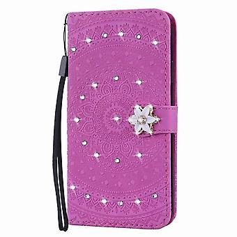 Stylowa błyszcząca skórzana obudowa folio na iPhone'a 11 Pro 5.8 - Purple&Red