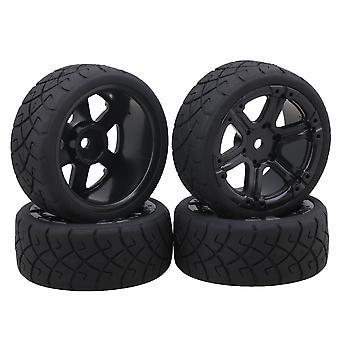 4 x Rubber 6 Spoke Wheels Rims Tyre X Shape Pattern for 1:10 On-Road Car