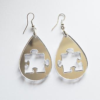 Teardrop Jigsaw 1 Acrylic Earrings