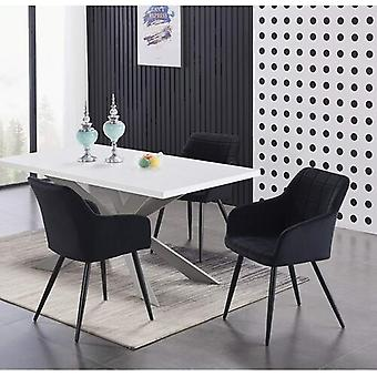 Lusso & Enzo Dining Set | Modern Dining Table | Velvet Dining Chair | Modern Set |  (white/grey & Black)