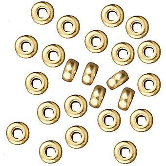 TierraCast Bright 22K Disco peltro placcato oro senza piombo Heishi Distanziale Perline 3mm (50)