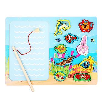 Puinen magneettinen valtameri kalastus lelu peli & Jigsaw puzzle board juguetes kala magneetti lelu| magneettinen