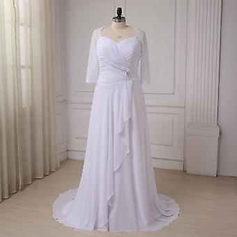الشيفون فستان الزفاف نصف الأكمام الخامس الرقبة الدانتيل