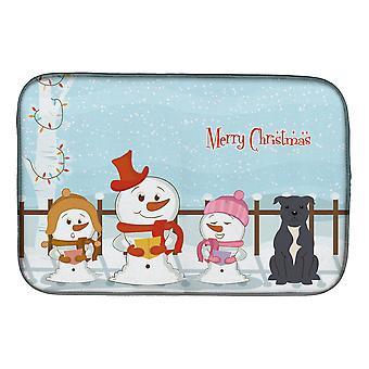 Caroline's Treasures Merry Christmas Carolers Staffordshire Bull Terrier Dish Drying Mat, 14 X 21