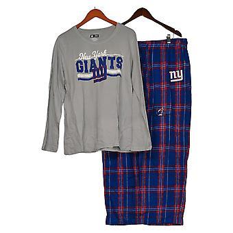 NFL Mujer Manga Larga Y Pantalones de Franela Pijama Set Azul A387687