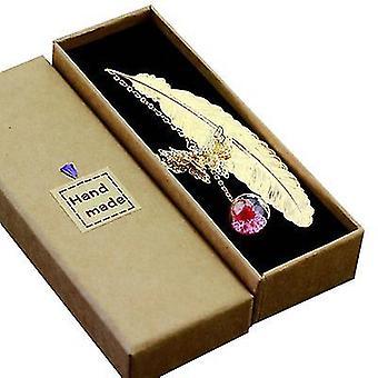Ruusunpunainen metallisulka kirjanmerkki 3D perhonen ja lasiset läjät kuiva kukka riipus x522