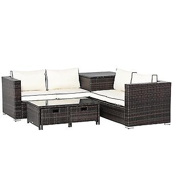 Outsunny 4 Pcs Rattan Wicker Garden Furniture Patio Sofa Storage & Table Set w/ 2 Drawers Coffee Table,Great Cushioned 4 Seats Corner Sofa - Brown
