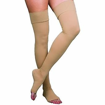 Loving Comfort Compression Stockings Loving Comfort Thigh High Small Beige Open Toe, Beige 1 Pair