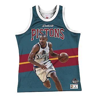 Mitchell & Ness Nba Detroit Stempler Grant Hill MSTKSC19048DPITLWHGHI basketball hele året menn t-skjorte