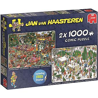Jumbo Jan Van Haasteren Christmas Gifts Jigsaw -  2 x 1000 Piece