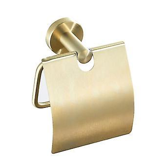 Harjattu kultainen wc-paperiteline ruostumattomasta teräksestä valmistettu pyöreä pidike, jossa kansi kylpyhuoneen lisävarusteille