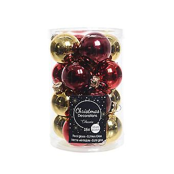 16 3.5cm Red & Gold Mix Glass Christmas Tree Bauble Decorations
