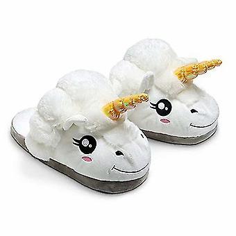 Fluffy Funny Cartoon Unicorn Sheep 3d Solid Cotton Warm House Winter Plush Slippers