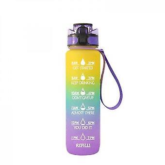 בקבוק מים עם סמן זמן וסמן זמן בקבוקי מי קש עם זמנים לשתות (סגול כחול צהוב)