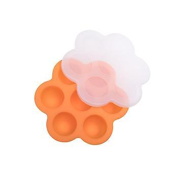7-hole Silicone Baby Food Supplement Box Storage Box Sealed Fresh-keeping Box Ice Tray Mold-Orange
