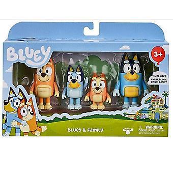 Action Figure Bluey & Family Bingo Toys 4 Pcs Pack Set Collection Toys Kids Gift