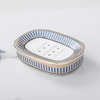 Soap dishes holders nordic light luxury ceramic soap dish soap container jewelry watch storage rack hotel stripe blue