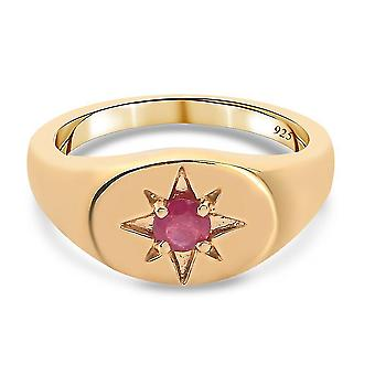 TJC Ruby Signet Ring Gold Plated Silver Signature Jewellery 0.33ct(S)