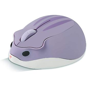 Wireless Mouse Hamster Shaped Computer Mouse 1200dpi Less Noise Portable Usb Mouse (purple)