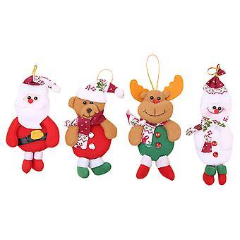 4kpl joulukoristeita lahja joulupukki lumiukko puu lelu nukke ripustus koristeet