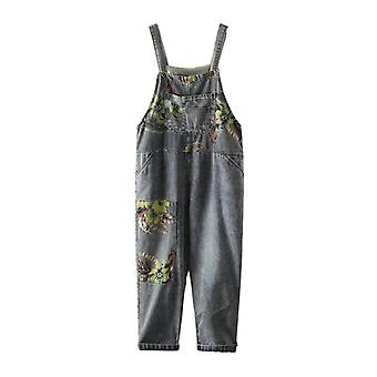Woman Loose Overalls Printed Demin  Jeans