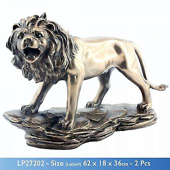 BRONZED CERAMIC ROARING LION SCULPTURE DECORATION FIGURE ORNAMENT