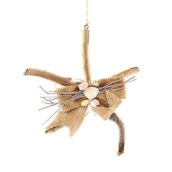 Driftwood Shaped Starfish with Shells Christmas Holiday Ornament 11.5 Inches