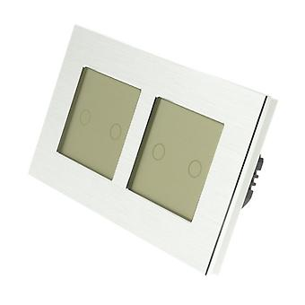 I LumoS Silver Brushed Aluminium Double Frame 4 Gang 2 Way WIFI/4G Remote Touch LED Light Switch Gold Insert