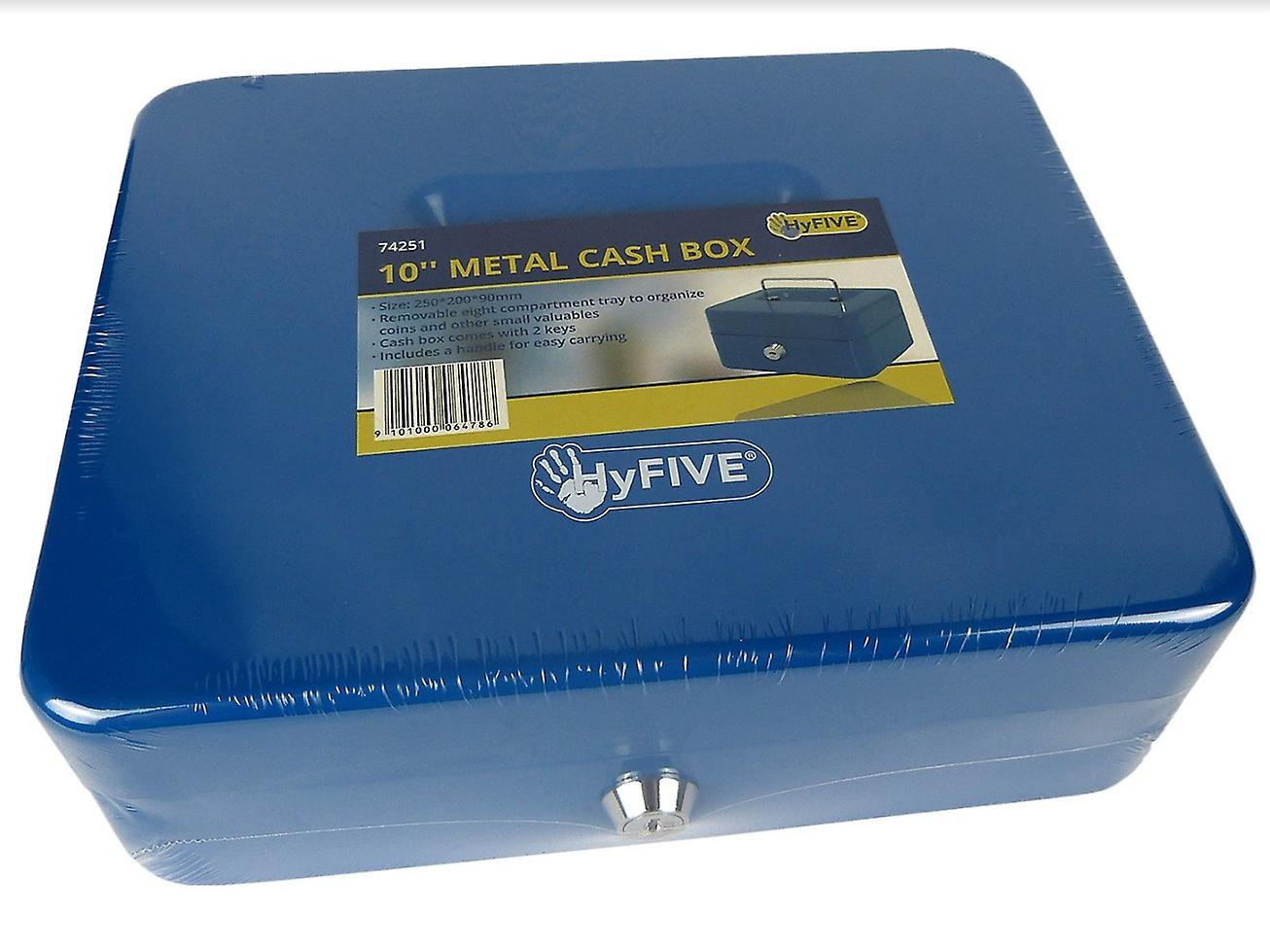 Hyfive® Steel Petty Cash Box With 2 Keys/Removable Change Tray For Perfect Secure Storage in Blue 10